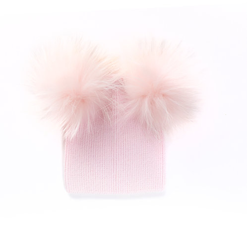 Angora Double Pom Hat - Baby to 2 years Pink
