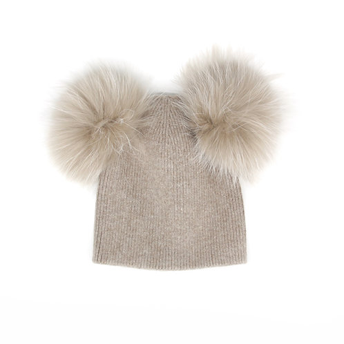*Exclusive* Angora Double Pom Hat - Fawn - 6 year to Adult