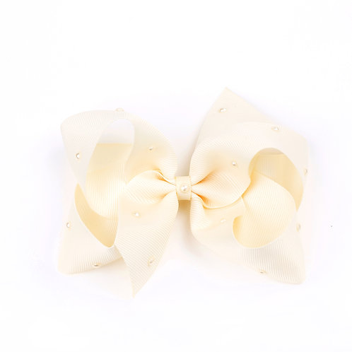 Large Classic Bow - Ivory with Swarovski Pearls