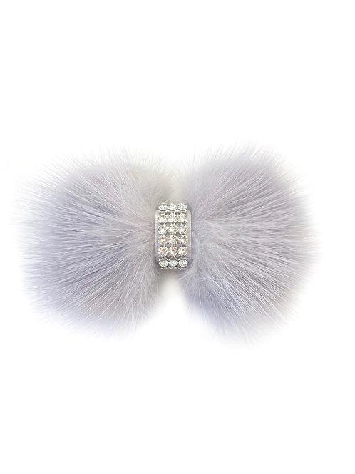 Mink Bow Hair Clip - Light Grey