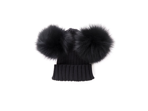 Merino Wool Double Pom Child and Adult Hat - black - 2 years to adult