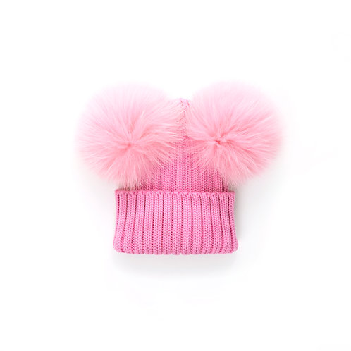 Rose Pink Double Pom Baby Hat - Size T1 - baby to 2 years