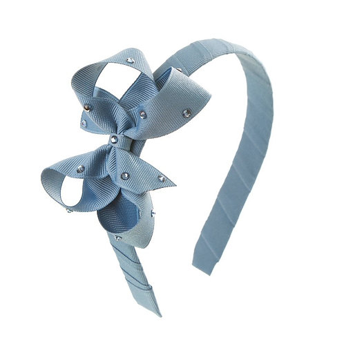 Bow Hairband - Antique Blue