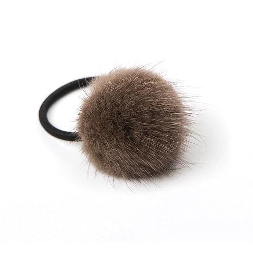 Mink Puff Hair Tie - Brown