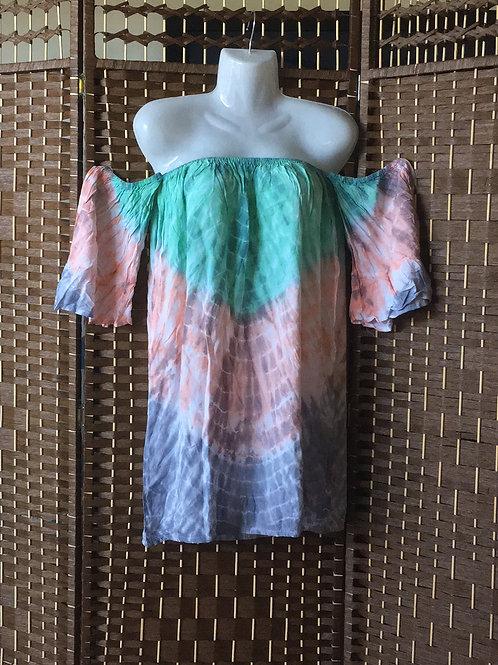 Tie dye short strapless dress