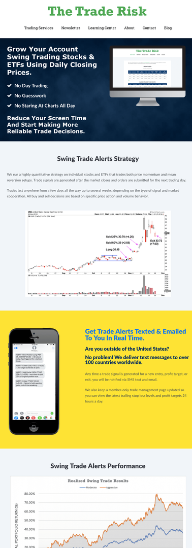 The Trade Risk Swing Trade Alerts Page