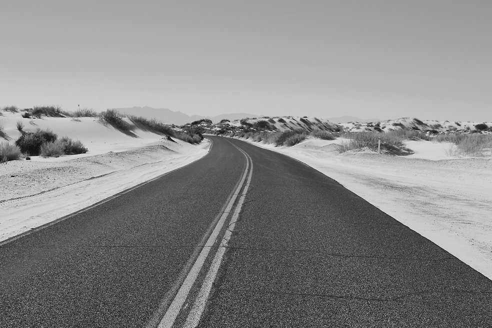 Road and sand dunes
