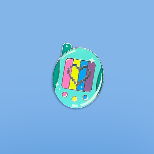 Digital Love Enamel Pin - Teal