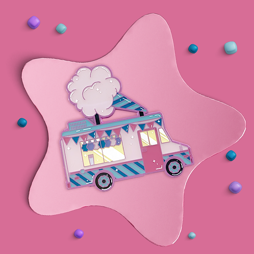 Cotton Candy Truck Enamel Pin