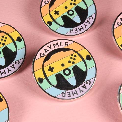 FLAWED Gaymer Enamel Pin - Pastel