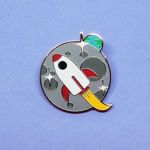 Rocket Moon Enamel Pin