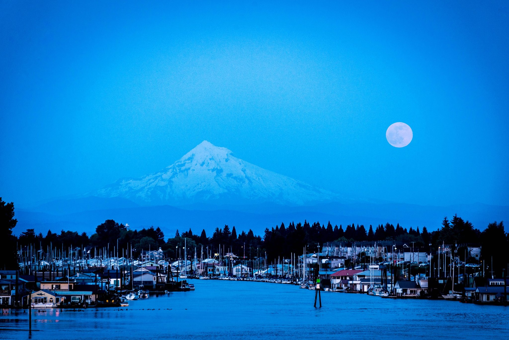 Full moon over Mt. Hood, OR