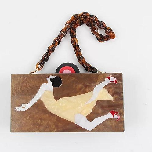 Mioki Great Gatsby Art deco lady motif lucite mosaic perspex bakelite clutch bag