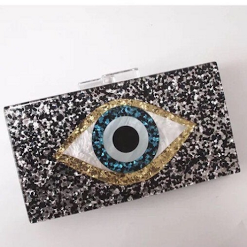 Eyes on you lucite glitter Clutch bag
