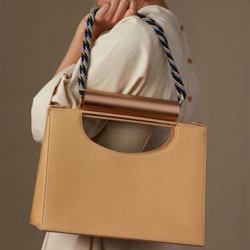 Kinfolk metal handle rope strap vegan leather special purse bag