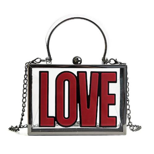 Love'n lucite box clutch purse