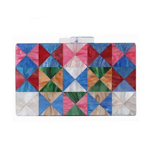 Rainbow chess lucite box Clutch case bag