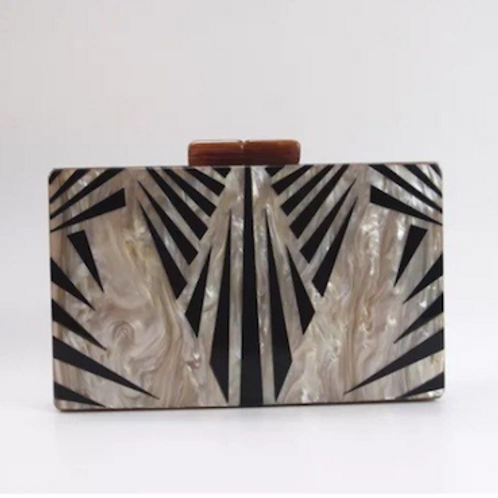 Cleo art deco lucite marble Clutch