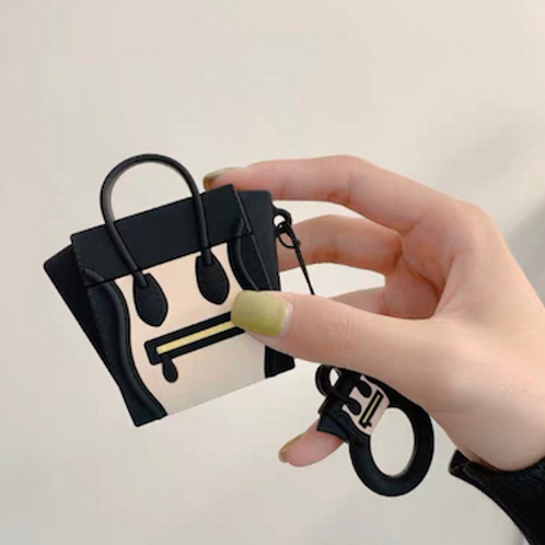 Fun Chloe Celine inspired silicone airpods case box with drop-prevention ring