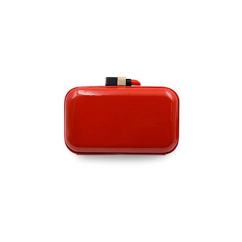 Rouge lipstick vegan patent box Clutch bag