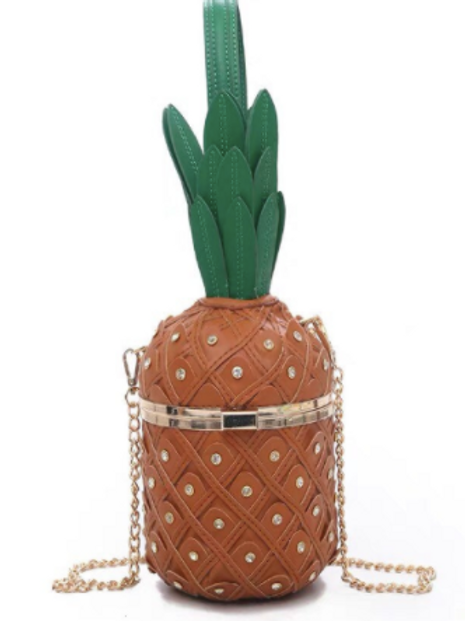 Juicy Pineapple vegan leather box Clutch bag purse