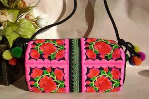 Vintage traditional Chinese embroidered bag with pom pom details
