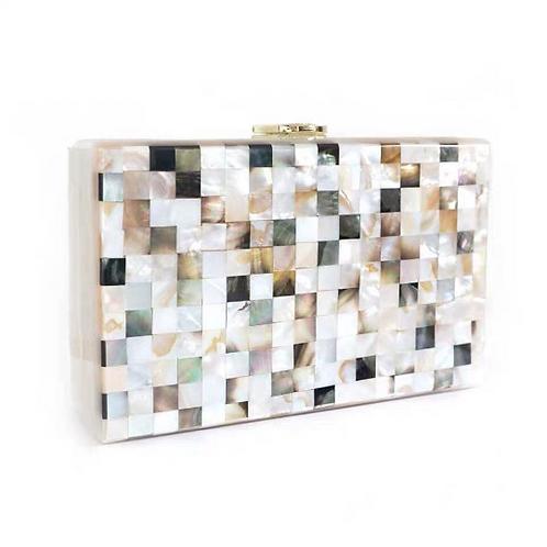 Rare genuine Ariel shell mother of pearl unique case box clutch bag