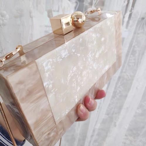 Blush geo lucite marble Clutch box purse