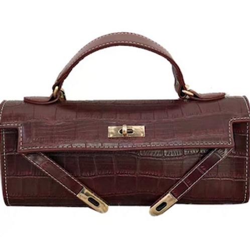 Geri handcarry handle vegan croc leather Clutch bag case purse