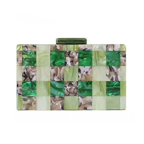 Marc Marni vibe retro plaid lucite mosaic perspex bakelite purse box bag