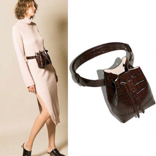 Meli statement vegan croc leather waist bucket bag waistband purse