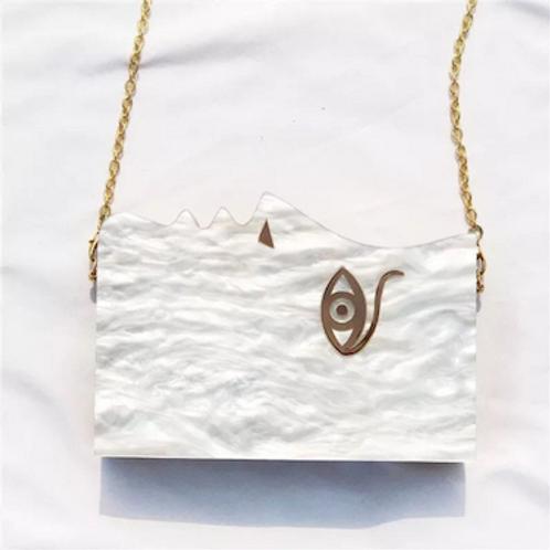 Oprah muted shadow lucite box purse clutch