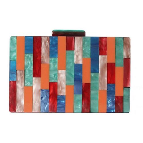 Miranda rainbow jigsaw lucite box Clutch bag