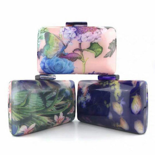 Florence Floral pattern lucite resin perspex bakelite clutch purse case bag
