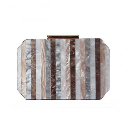 Lynette retro look marble stripe details clutch box case shoulder bag