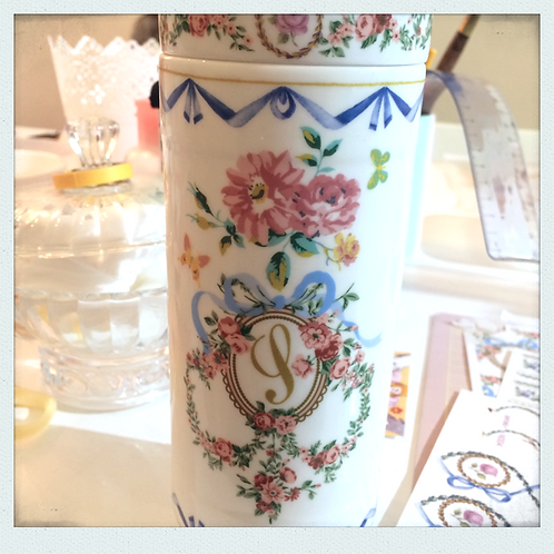 Ribbon floral porcelain thermos