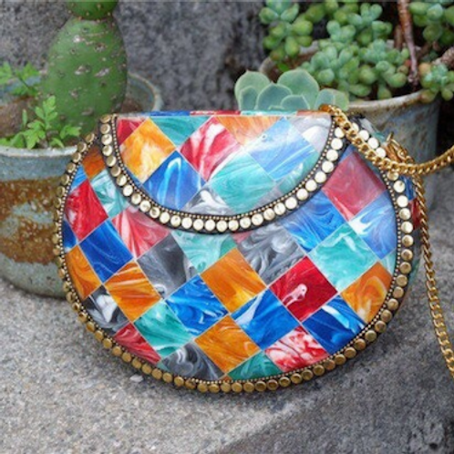 Indian Vintage traditional multi rainbow candy color mix cross-shoulder bag case