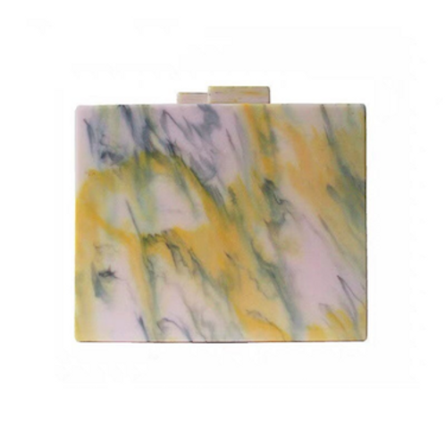 Gia lucite marble case box clutch bag purse