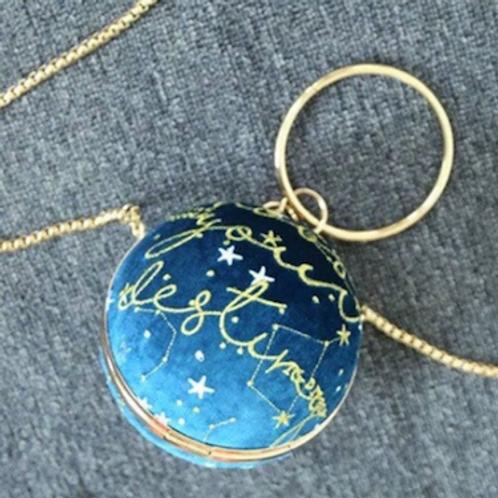 Starry velvet lurex metallic embroidered globe sphere round box Clutch