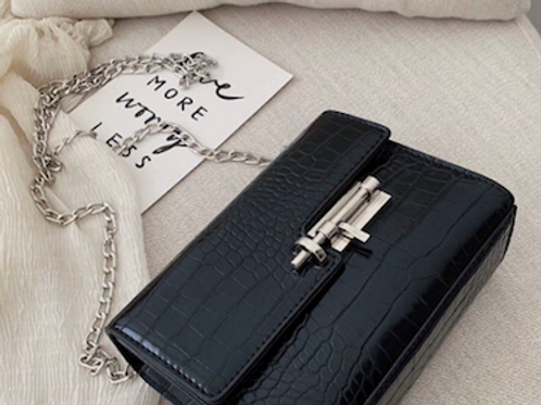 Penn MM3 statement bold metal lock hardware croc purse clutch bag