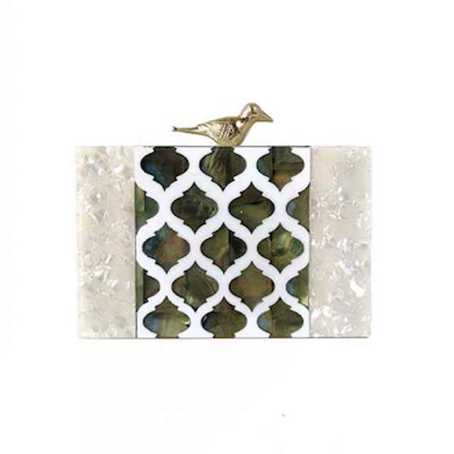 Moroccangenuine shell mother of pearl hummingbird box clutch purse