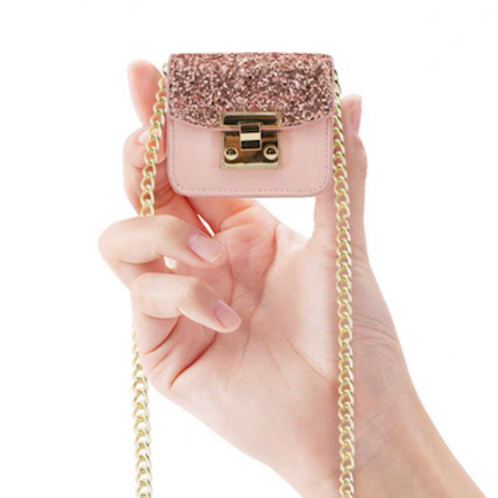 Mini cuteness glitter Rhonna vegan leather bag necklace
