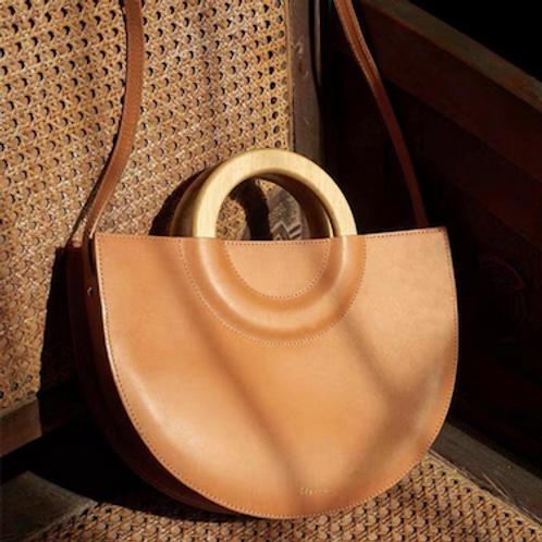 Ria wooden handle vegan leather handbag handcarrypurse