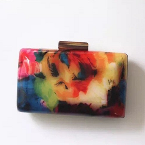Picasso lucite marble Clutch case bag
