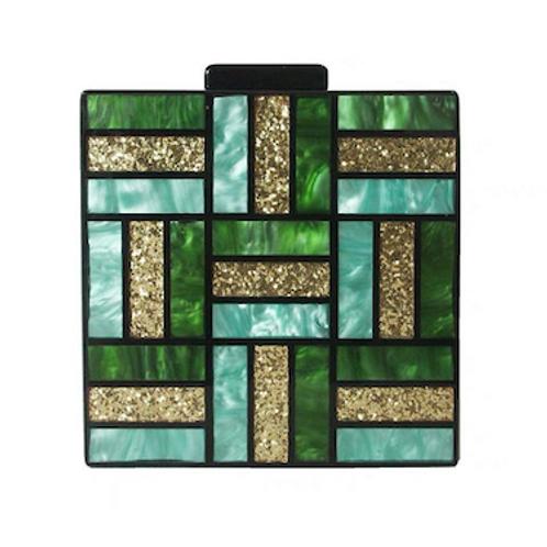 Fave Noelle vintage look art deco square lucite box clutch purse