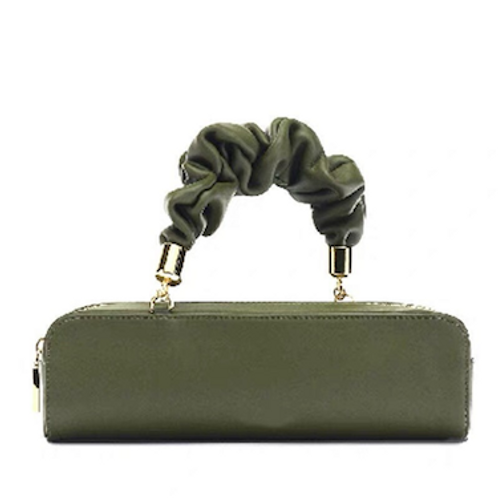 Sally Chloe Celine look contemporary textured handle vegan leather Clutch bag