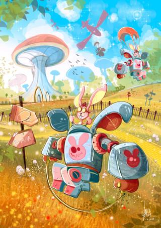 Children-Book-Art-Bunny-Mech-Colorful.jp