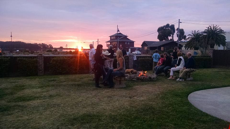 Sunset at the fire pit. Eureka, Ca