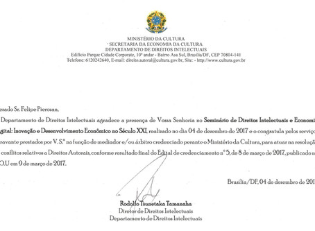Posse de Felipe Pierozan como Árbitro do Ministério da Cultura