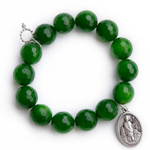 Powerbeads by Jen Faceted clover fields paired with a Saint Patrick medal